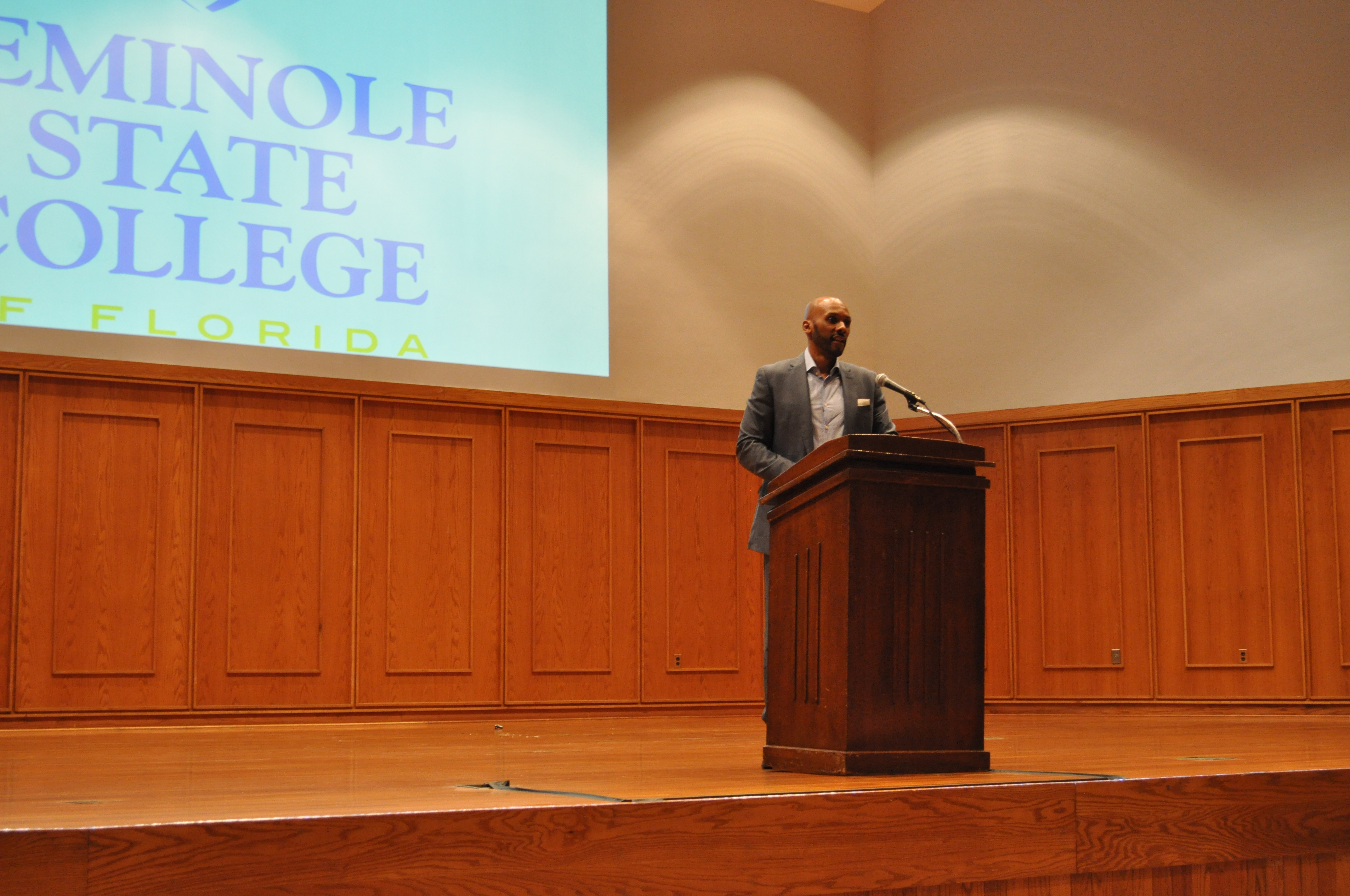 Black and Gay: Boykin during the Feb. 3 event at Seminole State College. [Photo: Ricardo Serrano]